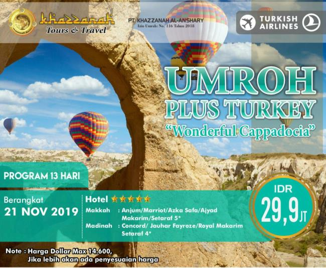 paket umroh november 2019 plus turki