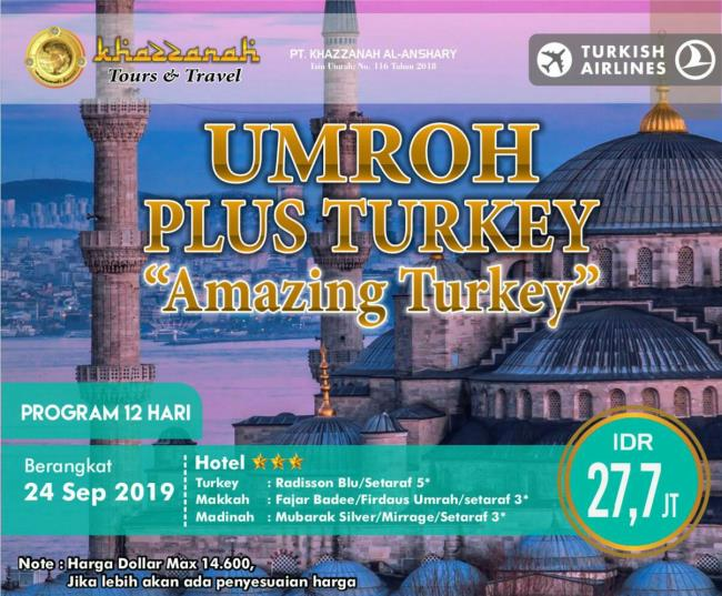 paket umroh september 2020 plus turki