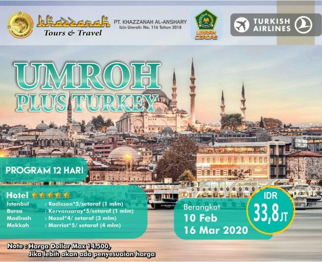 Paket Umroh Plus Turki 2020